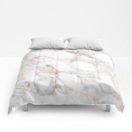 Rose Gold Marble Blush Pink Metallic Foil Comforters