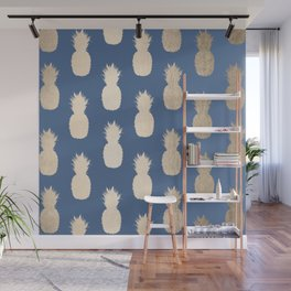 Gold Pineapples on Aegean Blue Wall Mural