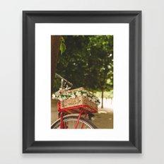 Spring red bike Framed Art Print