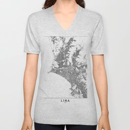 Lima White Map Unisex V-Neck