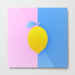 illustrations summer food lemon pop background Metal Print