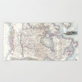 Vintage Map of Canada (1849) Beach Towel