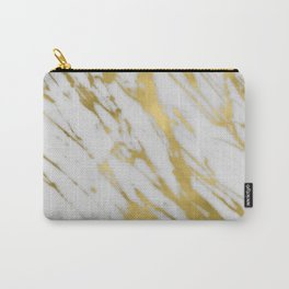 Gold White Marble Carry-All Pouch