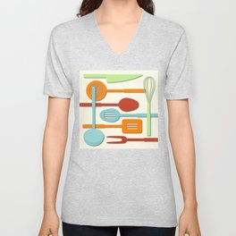 Kitchen Colored Utensil Silhouettes on Cream III Unisex V-Neck
