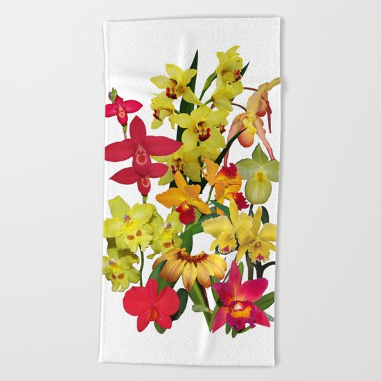 Orchids - Hot Colors! On white Beach Towel