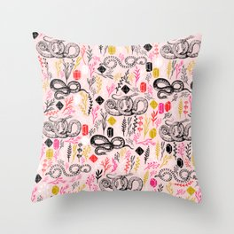 Snakes and Crystal Gems Throw Pillow