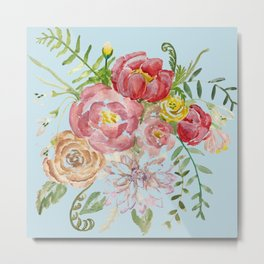 Bouquet of Watercolor on Blue Background Metal Print