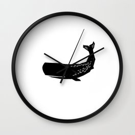 Whale sperm whale ocean life black and white linocut minimal art pattern Wall Clock