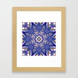 Kaleidoscope flower in purple, pink, blue and salmon. Framed Art Print