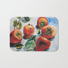 Watercolor Persimmons With Leaves Bath Mat