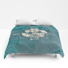 Lighthouse Compass Ocean Waves Gold Comforters