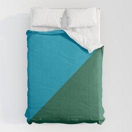 Light Blue & Army Green - 2 color oblique Comforters