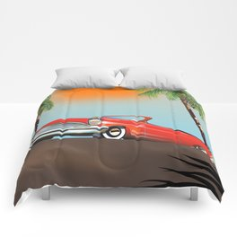 Vintage Red Classic Car Comforters