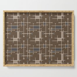 Intersecting Lines in Brown, Tan and Gray Serving Tray