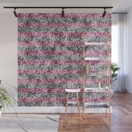 Pink and Silver Glitter Sequin Stripes Wall Mural