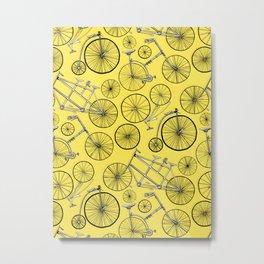 Monochrome Vintage Bicycles On Bright Yellow Metal Print