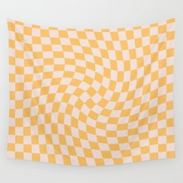Check I - Yellow Twist — Checkerboard Print Wall Tapestry