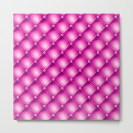 Fuchsia Pink Quilted Texture Metal Print