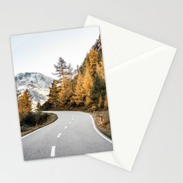 Golden PNW Roadtrip Nature Photo of Forest & Mountain Range Stationery Cards