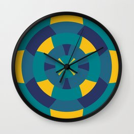 Simple geometric boat helm in blue and yellow Wall Clock