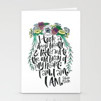 sylvia plath Stationery Cards featuring Hand-lettered Sylvia Plath quote with flowers by to florence with love