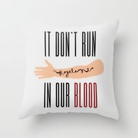 lorde Throw Pillows featuring It Don't Run in Our Blood - Royals by Lorde by Jesus Acosta