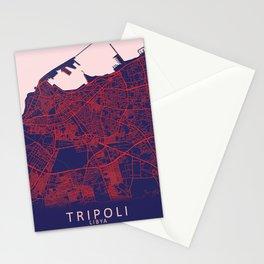 Tripoli, Libya, Blue, White, City, Map Stationery Cards
