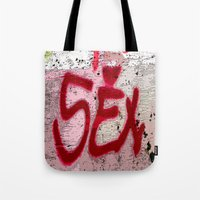 sex and the city Tote Bags featuring Sex by Lior Blum