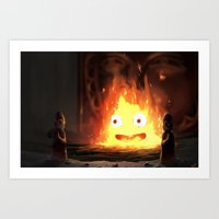calcifer Art Prints featuring Cálcifer by Kitexavier