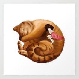 The Big Cat Sleeps into a Ball and the Little Girl Sleeps with him Together. Art Print