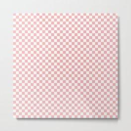 Lush Blush Pink and White Checkerboard Squares Metal Print