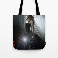 witch Tote Bags featuring Witch by Julie Hoddinott