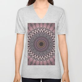 Pink grey Flower Mandala Design Unisex V-Neck
