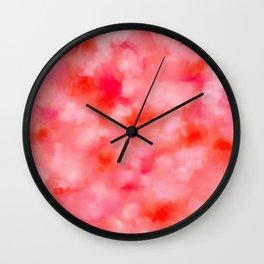 Blush Cream Coral Floral Abstract Wall Clock