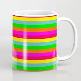 Small Neon Hawaiian Horizontal Rainbow Cabana Stripes Coffee Mug