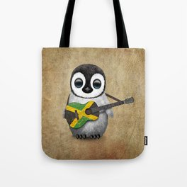 Baby Penguin Playing Jamaican Flag Guitar Tote Bag