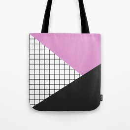 Geometry: black, pink and squres Tote Bag