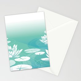 Pastel Blue Lotus Pattern Stationery Cards