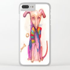 pet dog with precious toys Clear iPhone Case