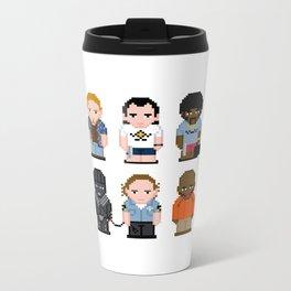 Pixel Pulp Fiction Characters Metal Travel Mug