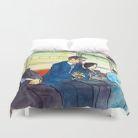 subway Duvet Covers featuring Tokyo subway by adi tsahor