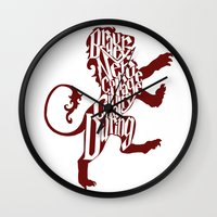 gryffindor Wall Clocks featuring Gryffindor Pride by Gabriela Michelle