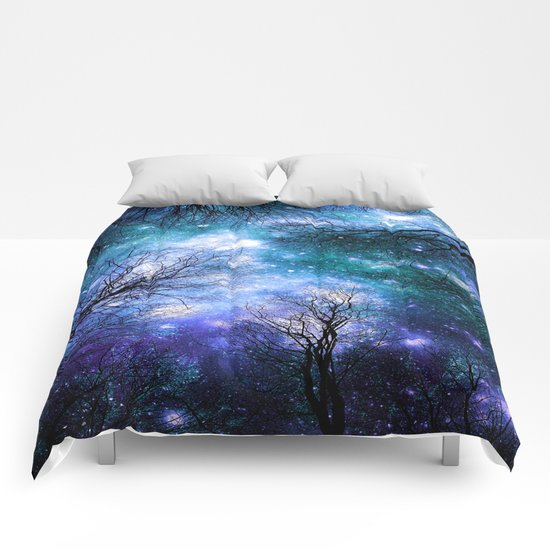 Black Trees Teal Violet Space Comforters
