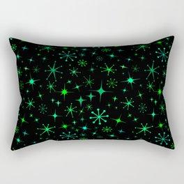 Atomic Starry Night in Neon Green Glow + Black Rectangular Pillow
