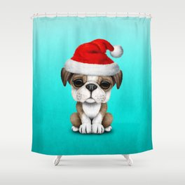Christmas Bulldog Puppy Wearing a Santa Hat Shower Curtain