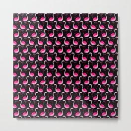 Pink flamingo pattern on black Metal Print