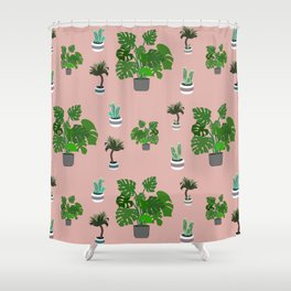 Monstera, yucca and cacti pattern Shower Curtain