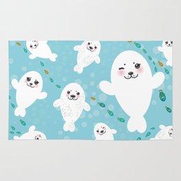 Funny albino white fur seal pups, cute kawaii seals Rug