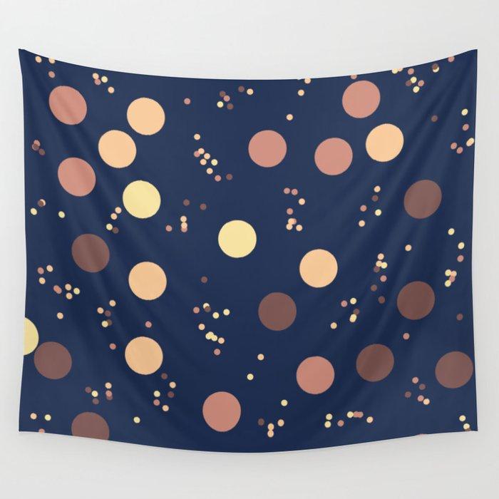 Retro Minimalism Rain Drops Against Night Sky Wall Tapestry