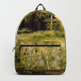 Birch Trees Nature Landscape Oil Painting Backpack
